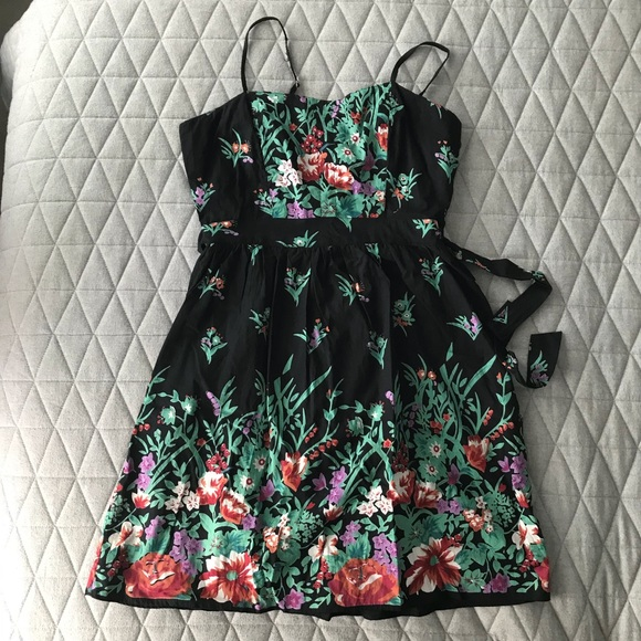 Angie Dresses & Skirts - Black with Floral Print Sundress